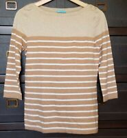J.McLaughlin Womens Stripe Knit Top Blouse 3/4 Sleeves Brown White Stretch Sz S