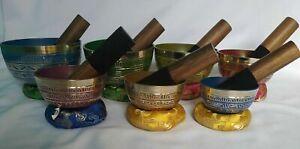 Handmade 7 Chakra Healing Itched Singing Bowl Set,Reiki,Sound Therapy,Meditation