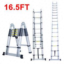 16.5FT Aluminum Multi Purpose Ladder Telescoping Telescopic Extension Folding