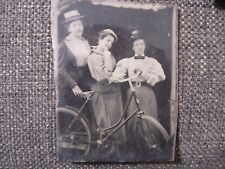 Three Women Posing with an Early Bicycle, c. 1880s (?)!