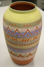 """Terrific Colorful Polychrome Etched Pottery Olla By R. Gonza And Signed 12"""""""