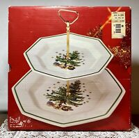 Vintage Nikko Japan Christmastime Classic Holiday 2-Tier Tidbit Tray NEW IN BOX