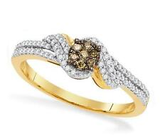 10K Yellow Gold Chocolate Brown & White Diamond Ring diamond Cluster Band .20ct