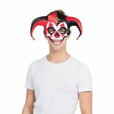 Jester Skull with Horns Horror Halloween Mask Adult Mens Fancy Dress Costume