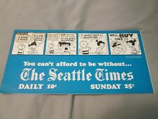 """Peanuts Charlie Brown Snoopy Promo newspaper sign """"The Seatle Times"""" newsstand"""