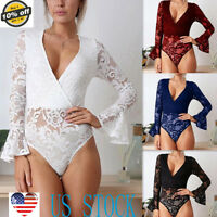 Women Bell Sleeve Lace Deep V Bodysuit Briefs Jumpsuit Romper Leotard Tops Shirt