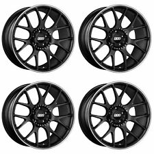 4 x BBS CH-R Satin Black / Stainless Rim Alloy Wheels - 5x120 | 20x9 "