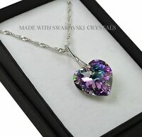 925 Sterling Silver Necklace *VITRAIL LIGHT* 18mm Heart Crystals from Swarovski®