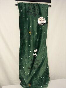 Peanuts Berkshire Christmas Holiday Throw Blanket Snoopy Green 50x70