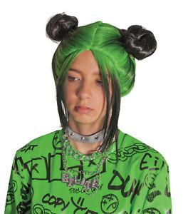 Billie Eilish Green Double Bun CHILD Wig Costume Accessory NEW