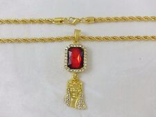 Real 18k Yellow Gold Filled Jesus Head Red Ruby Twisted Rope Chain Necklace 30""