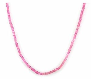 Pink Sapphire Necklace Solid Strand 20 Inch AAA 14k Gold filled Sterling Silver