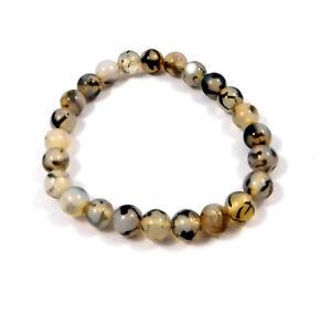 Dragon Agate Gemstone 6mm Round Beads For Men & Women 1 Bracelet Size 7.5