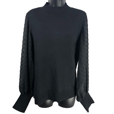 NWT $79 Vince Camuto Black Sheer Sleeve Top Women's Size Large
