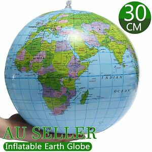 30CM 360° Inflatable Ocean World Globe Map Earth Teaching Geography Table Toy AU
