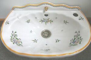 Antique Porcelain Sink/Hand Basin , - Original  Brass Waste - Clover leaf