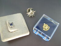 Lot of 3, VINTAGE MASON FREEMASON Masonry TIE TACK LAPEL PIN Gold & Sterling NOS