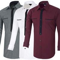 CHEAP~New Luxury Shirts Mens Casual Formal Slim Fit Shirt Top S M L XL