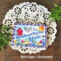 Mini Sign MOMMOM POPPOP HOUSE 's mom pop gift Ornament Door Knob Hanger DecoWord