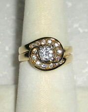 2  SOLID 14K  Gold   CZ   Engagement  &  Wedding  Rings
