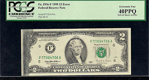 $2.00 Solvent Smear Error, FR# 1936-F, Federal Reserve Note, PCGS Certified!