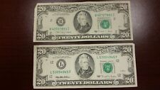 Lot of 2 Two Old $20 US Notes Bills (1988A - 1995) $40.00 Face Value
