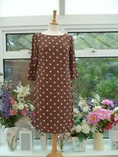 TOAST BROWN & IVORY SPOTTY TUNIC DRESS Sz 8