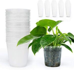 """120 pc 4"""" Soft Transparent Plastic Nursery Planting Pots, Orchids, + VINE CLIPS"""