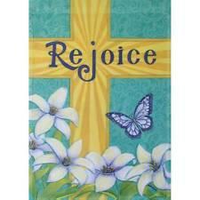 "Rejoice Cross 12.5"" X 18"" Garden Flag 11-3042-50 Rain Or Shine Spring"