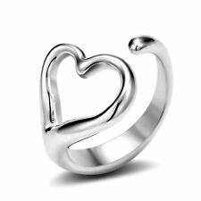 New 925 heart shape Adjustable Open Band Thumb Rings Ladies Gift Fashion
