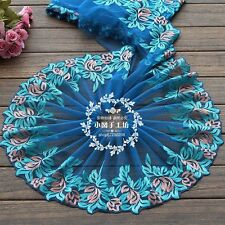 "1 Yd  Blue Mesh Embroidery Venise Lace Trim Fabric Sewing Crafts 7"" Width"