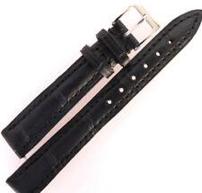 Grano de Cocodrilo Negro 14mm Apollo acolchado cuero reloj correa suave forro nobuck.