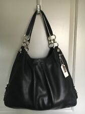 COACH~Mia Maggie Silky Black Leather Shoulder Bag Satchel 15741~
