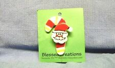 Ceramic Christmas Candy Cane w/ Santa Pin by Blessed Kreations