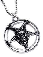 Large Baphomet Inverted Pentagram Goat Pendant Occult Chain Necklace UK SELLER