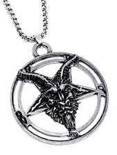 Large Baphomet Inverted Pentagram Goat Pendant Occult Chain Necklace UK SELLER
