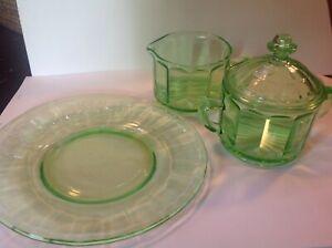 VINTAGE GREEN VASELINE DEPRESSION GLASS * CREAMER * SUGAR WITH LID * SALAD PLATE