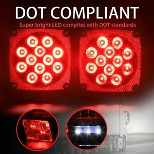 Pair Rear Led Submersible Trailer Tail Lights Boat Marker Truck Round Waterproof