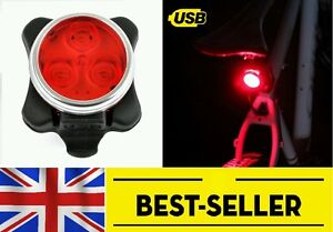 3 led RECHARGEABLE rear light - bike cycling very bright - high quality-SILICONE