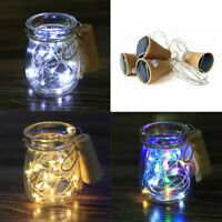 10/15/20LED String Solar Power Copper Cork Shaped Wine Bottle Wire Fairy Lights