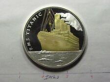 3.8 OZ TITANIC SHIP OF DREAMS COLORED WHITE STAR LINE VERY RARE SILVER GOLD COIN
