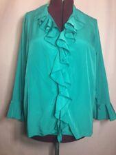 """Roamans 22W 52""""Bust Teal Blue Button Ruffle Career Women's Blouse Top Shirt EE5"""