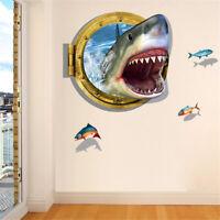 3D Shark Ocean Mural Removable Wall Sticker Art Vinyl Decal Kids Room Home HU