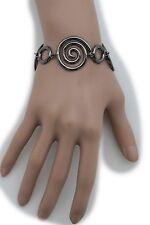 Women Pewter Bracelet Metal Wrist Chain Swirl Charms Classy Fashion Jewelry Cool