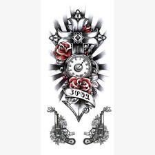 Temporary Tattoo Red Rose Cross Gun Tattoos Halloween adult for Men and Women