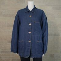 Ann Taylor Misses SMALL Oversized Fit Blue Cotton Lined Button Up Barn Jacket