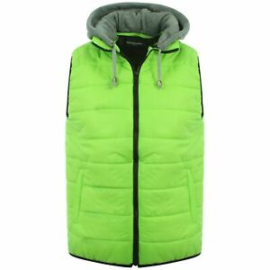 Mens Quilted Padded Slim Fit Body Warmer Gilet Winter Hooded Waistcoat Jacket