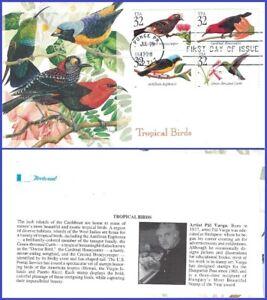 USA3 #3222-25 U/A FLEETWOOD FDC BL4 Tropical Birds