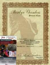 MARILYN CHAMBERS JSA Coa Hand Signed Club Certificate Authentic Autograph