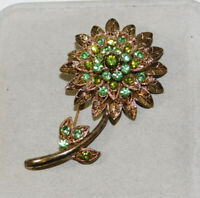 Vintage Green Rhinestone Huge Flower Gold tone Brooch Pin 2d 106